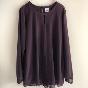 CAbi Long Sleeved Plum Entice Blouse